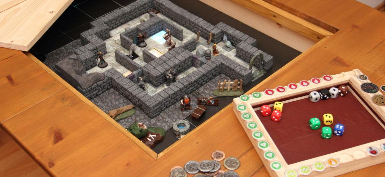 Tavolo da gioco con vano sottostante ricavato