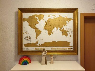Mappa dei viaggi- bacheca con mappa del mondo fai da te senza l'ausilio di chiodi